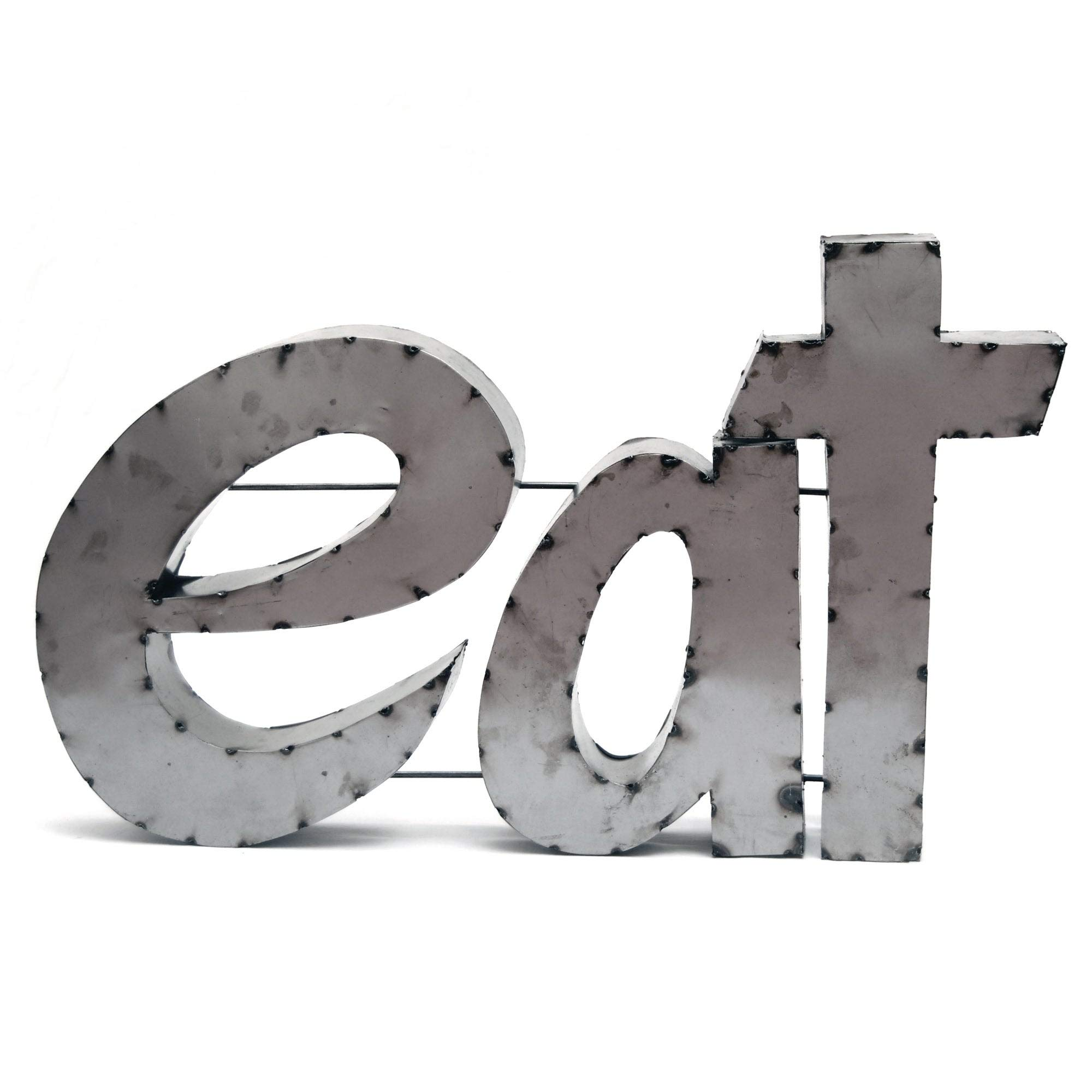 Eat W/Rebar Sign - N/a Silver Alphabet Metal Handmade by Unknown