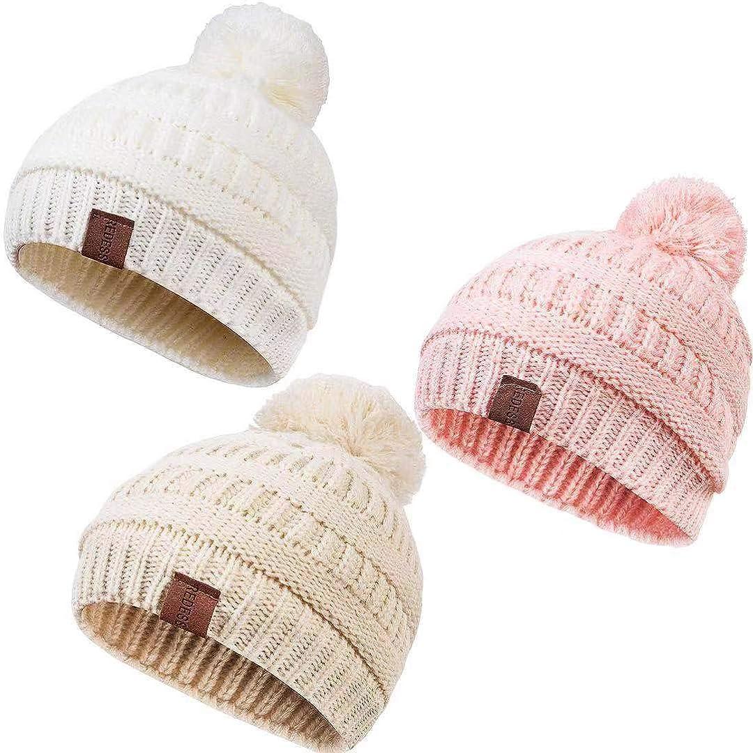 Infant Toddler Children Pom Pom Beanie Knit Cap Girls Boys REDESS Baby Kids Winter Warm Fleece Lined Hats