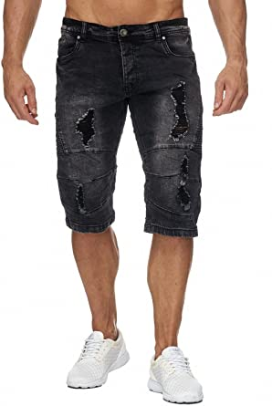 3a9d387cf167 Jaylvis Herren Jeans Shorts Denim Biker Bermuda Destroyed Walkshort H1942   Amazon.de  Bekleidung