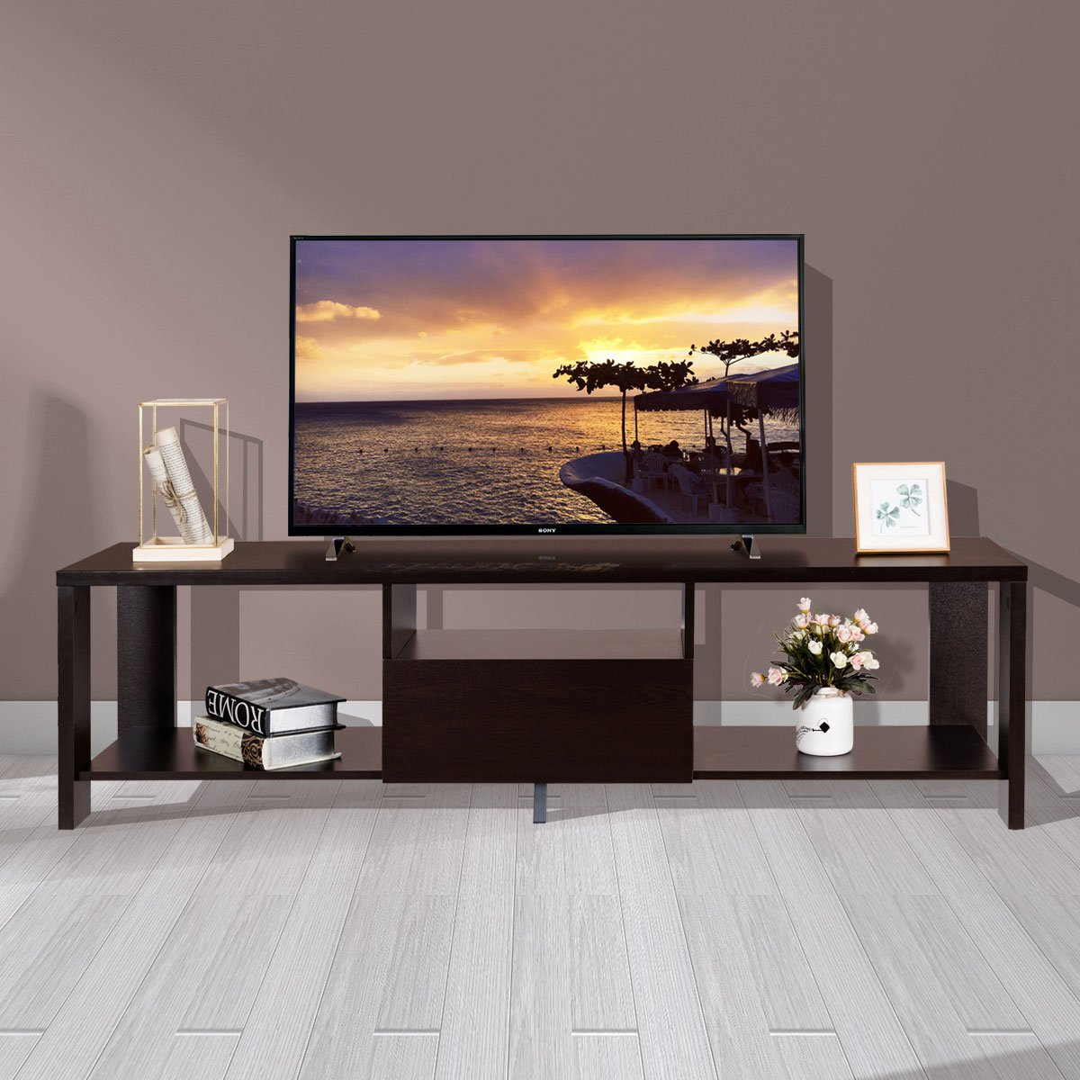 Tangkula TV Stand Home Living Room Modern Wood Entertainment Media Center Storage Console w Drawer and Display Shelf TV Cabinet Espresso Stand
