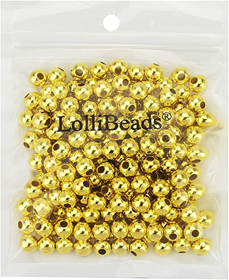 200 x 4mm Gold Plated Round Spacer Beads