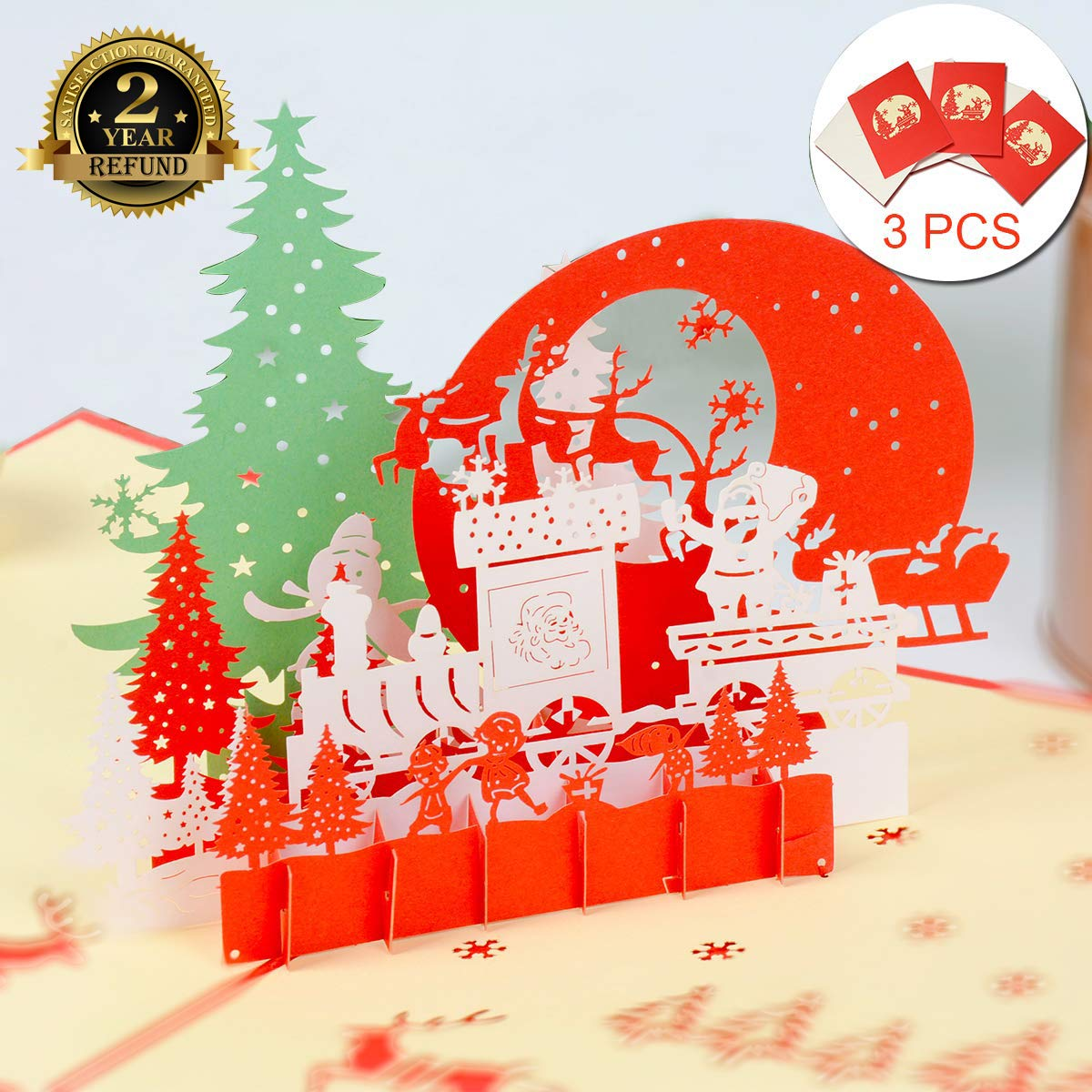 3 Pack Xmas Cards Christmas Cards 3d Pop Up Greeting Cards New Christmas Cards For Xmas Thank You Cards New Year Women Man Kids