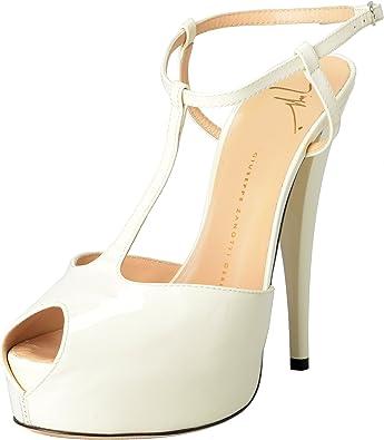 white open toe ankle strap heels
