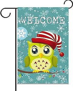 "BAIFUMEN Double Sided| Premium Garden Flag Christmas owl Decorative Garden Flags - Weather Resistant & Double Stitched 12.5"""" X18"