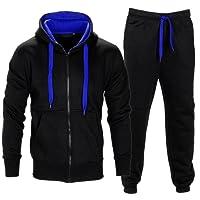 Hommes contraste à cordes Fleece Capuche Top Pantalons de jogging Gymnase Set Dessinez code Survêtement