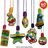 ArtCreativity Sand Art Bottle Necklaces Assortment for Kids, Bulk Pack of 60, Collection of Sand Art Craft Bottle…
