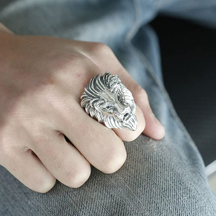Bishilin Silver Plated Ring for Men Animal Bone Paw Partner Rings Silver Size 10