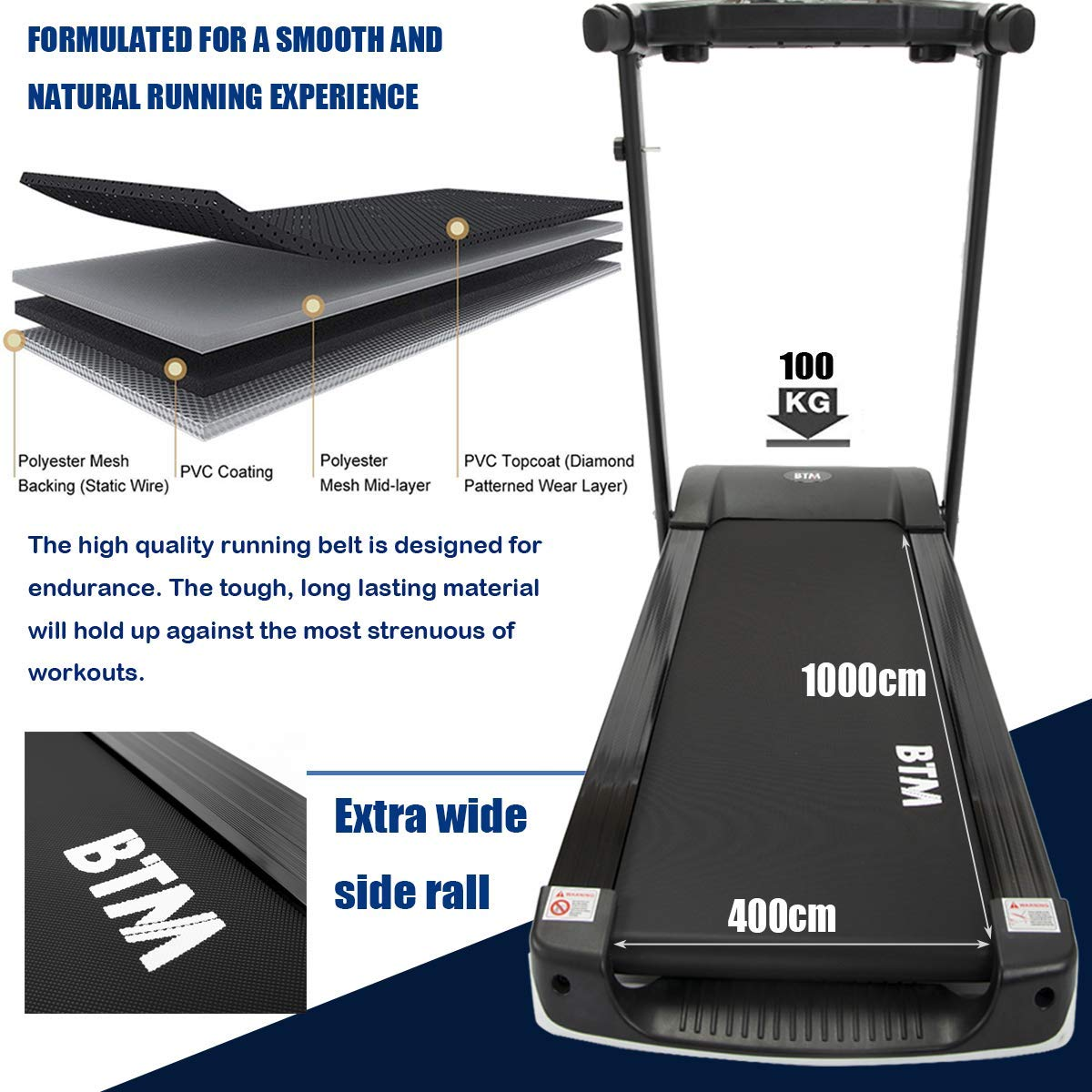 BTM A7 Motorised electric treadmill Folding Running machine 2019 Digital Control 2.0CHP Motor Up to 12.8KM//H 15 Programmes Walking Machine Portable Gym Equipment for Fitness Workout