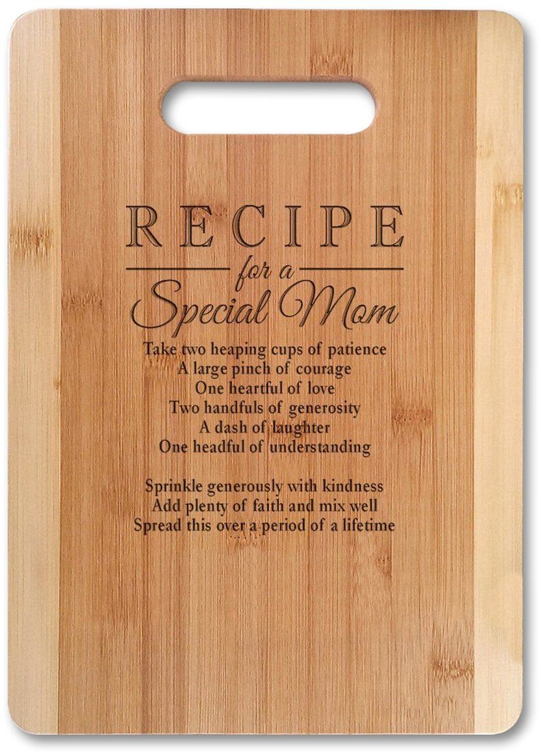 Bamboo Serving Cutting Board for Mothers Day
