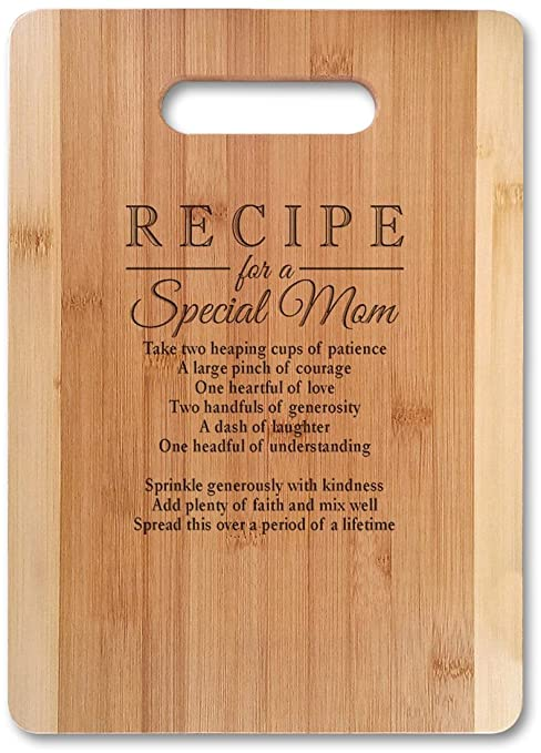 Mothers Gift Recipe For A Special Mom Med 13 X9 5 Not Customized Bamboo Serving Cutting Board For Mothers Day Birthday Or Christmas