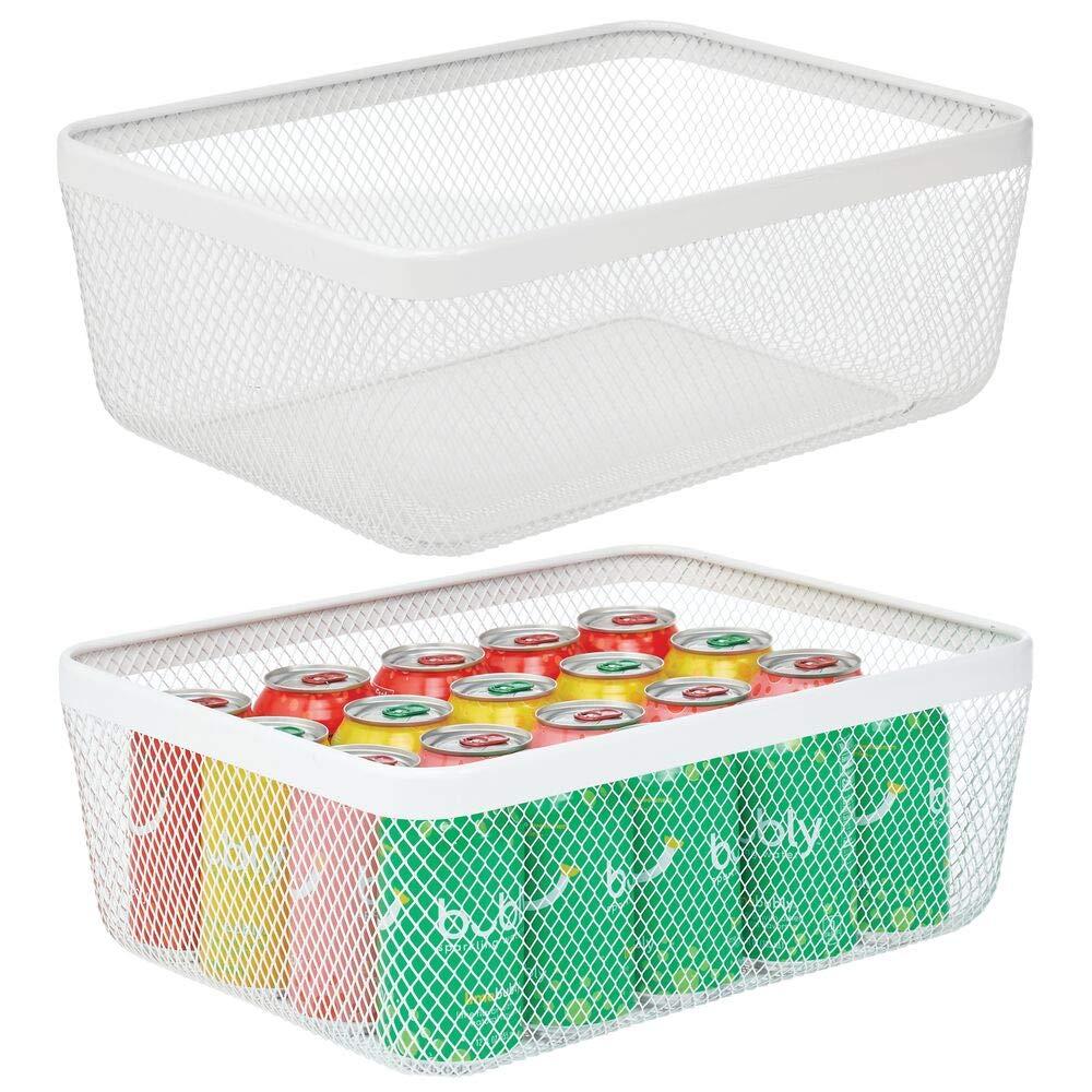 Cestino portaoggetti aperto ideale per cucina bianco bagno ufficio Pratico organizer multiuso per la casa mDesign Porta oggetti in filo metallico dispensa lavanderia