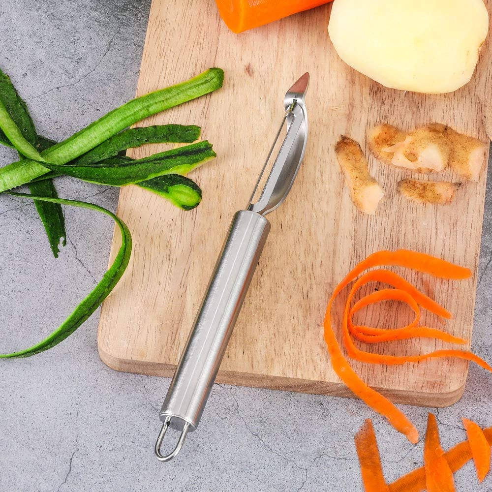 Stainless Steel Peeler with Swiveling Double Blade Premium Fruit Vegetable Peeler with Ergonomic Handle Lengthened Potato Peeler Tool for Home Kitchen 8.3 Inch