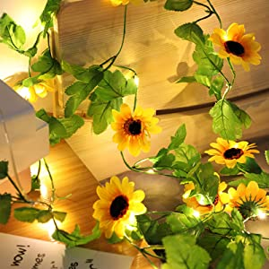 Artificial Sunflower LED String Lights with Battery Operated, 7FT 20 LEDs Garland with Green Leaf, Fairy Lights for Indoor, Outdoor, Wedding, Home, Garden, Christmas Decorations (Sunflower)