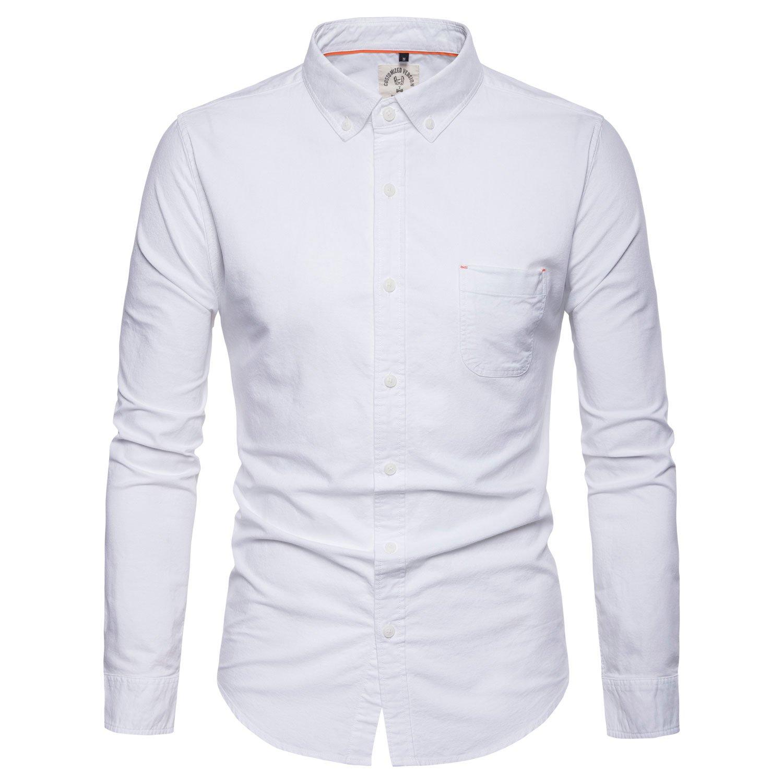 AOMO LOVE Mens Cotton Dress Shirts Long Sleeve Button Down Dress Shirt Regular Fit Collar Shirt (White, Small)