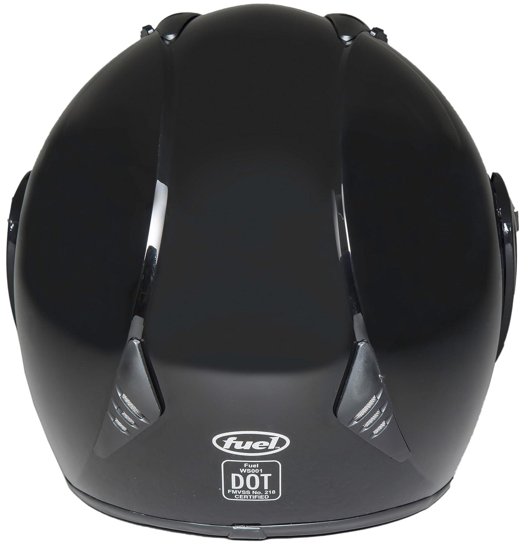 Fuel Helmets SH-WS0015 Open Face Helmet with Shield Gloss Black Medium