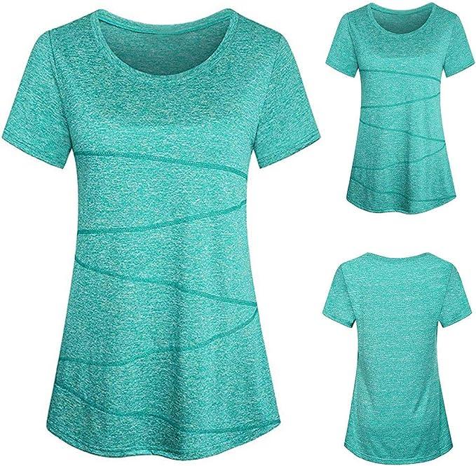 Womens Short Sleeve Blouse Yoga Tops Activewear Running ...
