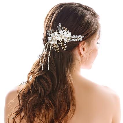 Handcess Side Comb catenina d  oro fiore strass 1920S capelli capelli sposa  pettini per capelli 78df6eba49f0