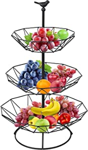 Hossejoy 3-Tier Metal Countertop Fruit Basket Stand Holder Rack—Perfect for Fruit, Vegetables, Snacks, Household Items, and Much More (Black)
