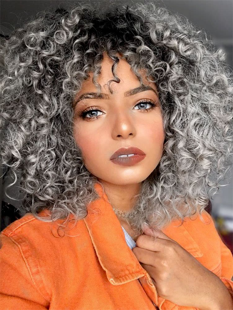 Aisi Hair Gray Curly Wig For Women Synthetic Mixed Wig With Bangs For Black Women Hair Heat Resistant Shoulder Length Kinky Afro Curly Wig