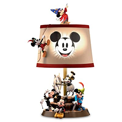 Bradford Exchange Disney Mickey Mouse Through The Years Sculptural Table Lamp with Fabric Shade: Kitchen & Dining