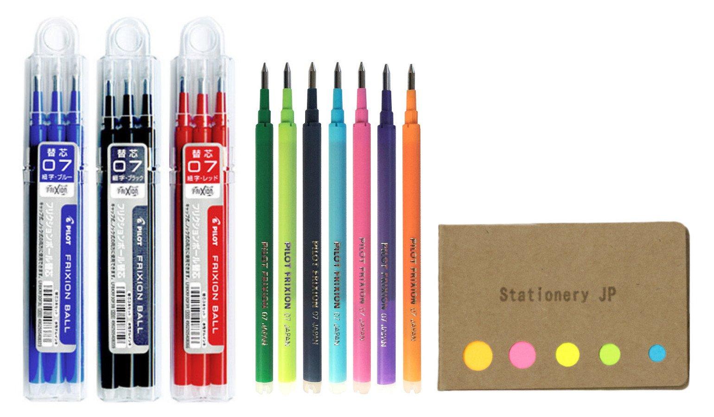 Pilot Gel Ink Refills for Pilot FriXion Ball Knock Retractable Gel Ink Pen, Fine Point 0.7 mm, 10 Colors, 10-Packs 15 refills, Sticky Notes Value Set