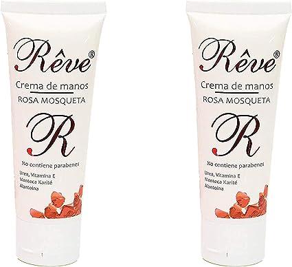 REVE Crema de Manos Rosa Mosqueta (Pack 2 Uds de 50 ml) Enriquecida con Urea, Vitamina