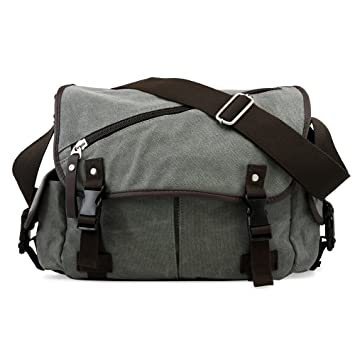 Amazon.com  Oct17 Men Messenger Bag School Shoulder Canvas Vintage  Crossbody Military Satchel Bag Laptop Gray  GEARONIC INC. 8788c430026a4
