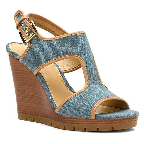 dfcaf5d17c90 MICHAEL Michael Kors Women s Gillian Wedge Washed Denim 5.5 M  Amazon.ca   Shoes   Handbags