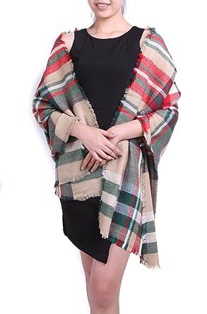 7f98b892ffa Subke écharpe hiver femme foulard grande taille châle cache-col réversible  franges quadrillé beige  Amazon.fr  Vêtements et accessoires