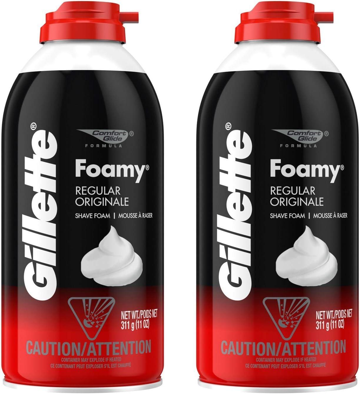 Gillette Foamy Shaving Cream, Regular - 11 oz - 2 pk