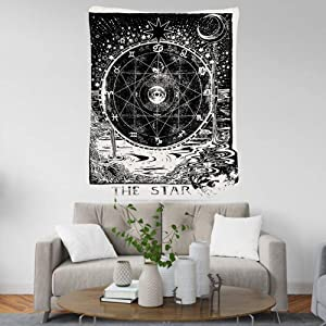 Moon and Sun Tapestry Wall Hanging 30x40 inch Black and White Psychedelic Tapestry Celestial Sun Moon Planet Bohemian Tarot Tapestry Wall Decor for Bedroom Living Room Dorm by GREENPURE