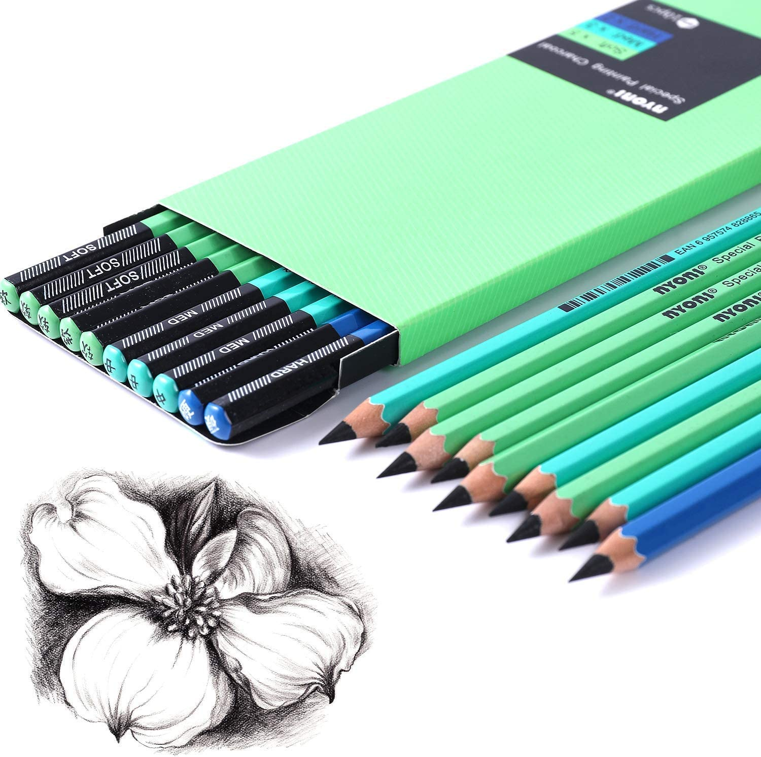 Black Pack of 12 Drawing Art Sinzau Soft Charcoal Pencil Set for Sketching