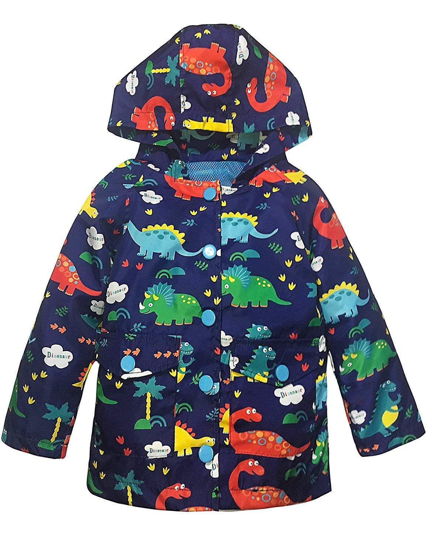YNIQ Boys' Printed Coated Raincoat for Toddler Boys Blue
