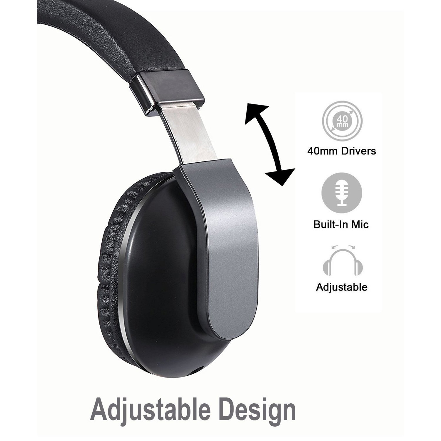 770 Silver JBUNION Bluetooth Headphones Over Ear Wireless Headset Wired and Wireless Headphones with Big Noise Isolation Memory-Protein Earmuffs for Cell Phone//TV//PC