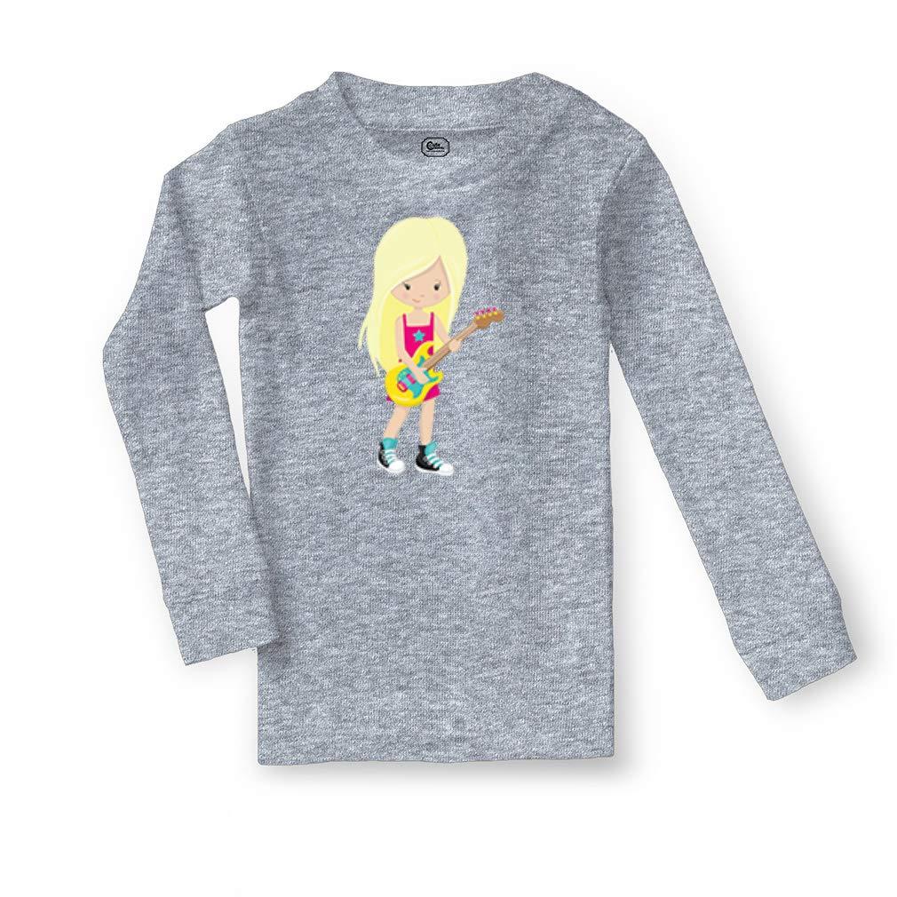 Guitar Player Girl Blonde Cotton Boys-Girls Sleepwear Pajama 2 Pcs Set