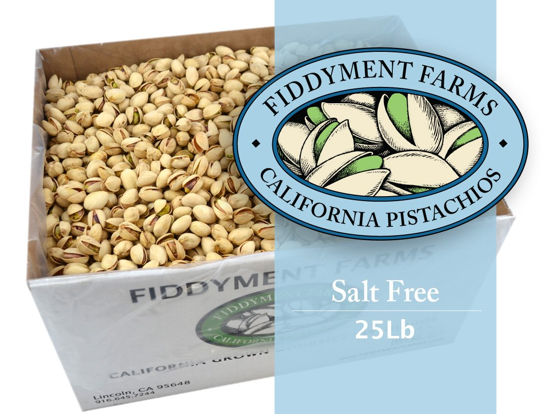 25 Lbs Salt Free In-shell Pistachios by Fiddyment Farms Gourmet Pistachios