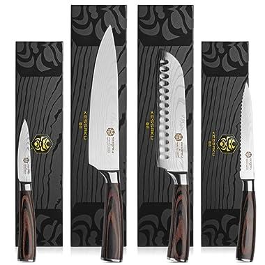 Kessaku 4 Knife Set - Samurai Series - Japanese Etched High Carbon Steel - 8-Inch Chef, 7-Inch Santoku, 5.5-Inch Utility, 3.5-Inch Paring