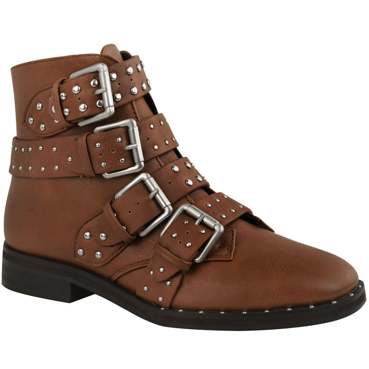 4ac34a9a895f Womens Ladies Flat Studded Strappy Biker Buckles Zip UP Ankle Boots Shoes  Size  Tan Brown Faux Leather Silver Studs UK 3   EU 36   US 5    Amazon.co.uk  ...