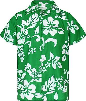 King Kameha Funky Hawaiian Shirt Men Short Sleeve Front-Pocket Boom Bang Comic Multiple Colors