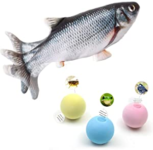 Flopping Fish Cat Toy & 3 Lifelike Animal Chirping Balls (Catnip Included)