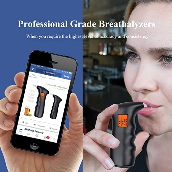 PerGrate Upgraded Version Digital LCD Breathalyzer Portable Digital Alcohol Analyzer Detector Test Tool LCD Display Breathalyzer with Backlight Black