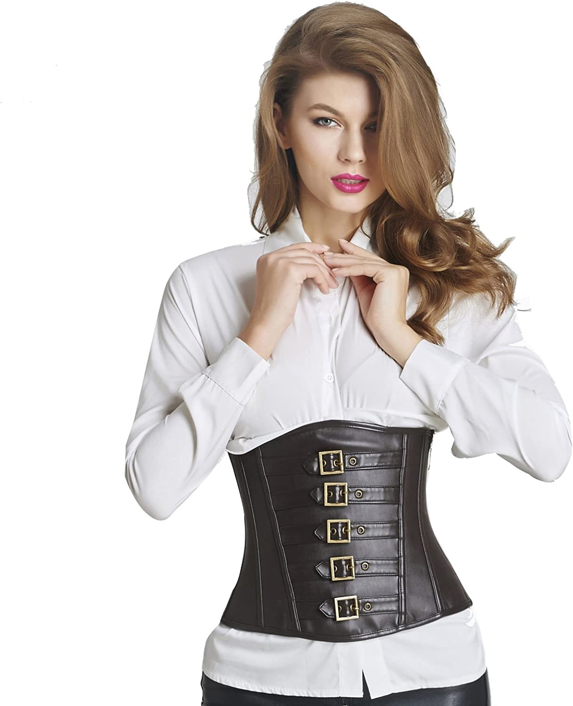 Queenral Waist Trainer Belt Cuir Steampunk Bustier Corset Body Amincissant Femme