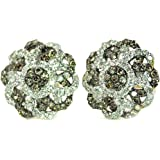 10K Gold Cognac and White Diamond Earrings Flower Shaped 1/2ctw Large Cluster Fashion Earrings (i2/i3, I/j)