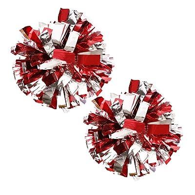 1 Paire Sports d'équipe Cheerleading Poms Match Pom Anneau en plastique Pompoms Argent + Rouge