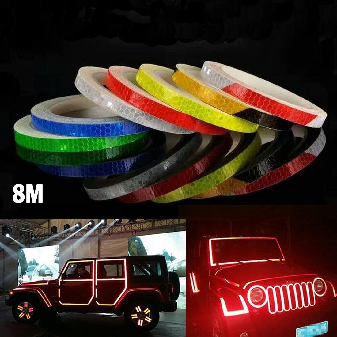 AM Safety Reflective Warning Lighting Sticker Adhesive Tape Roll Strip for Beautify Bicycle Bike Decoration