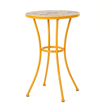 Brienne Outdoor Yellow Ceramic Tile Side Table with Iron Frame : Garden & Outdoor