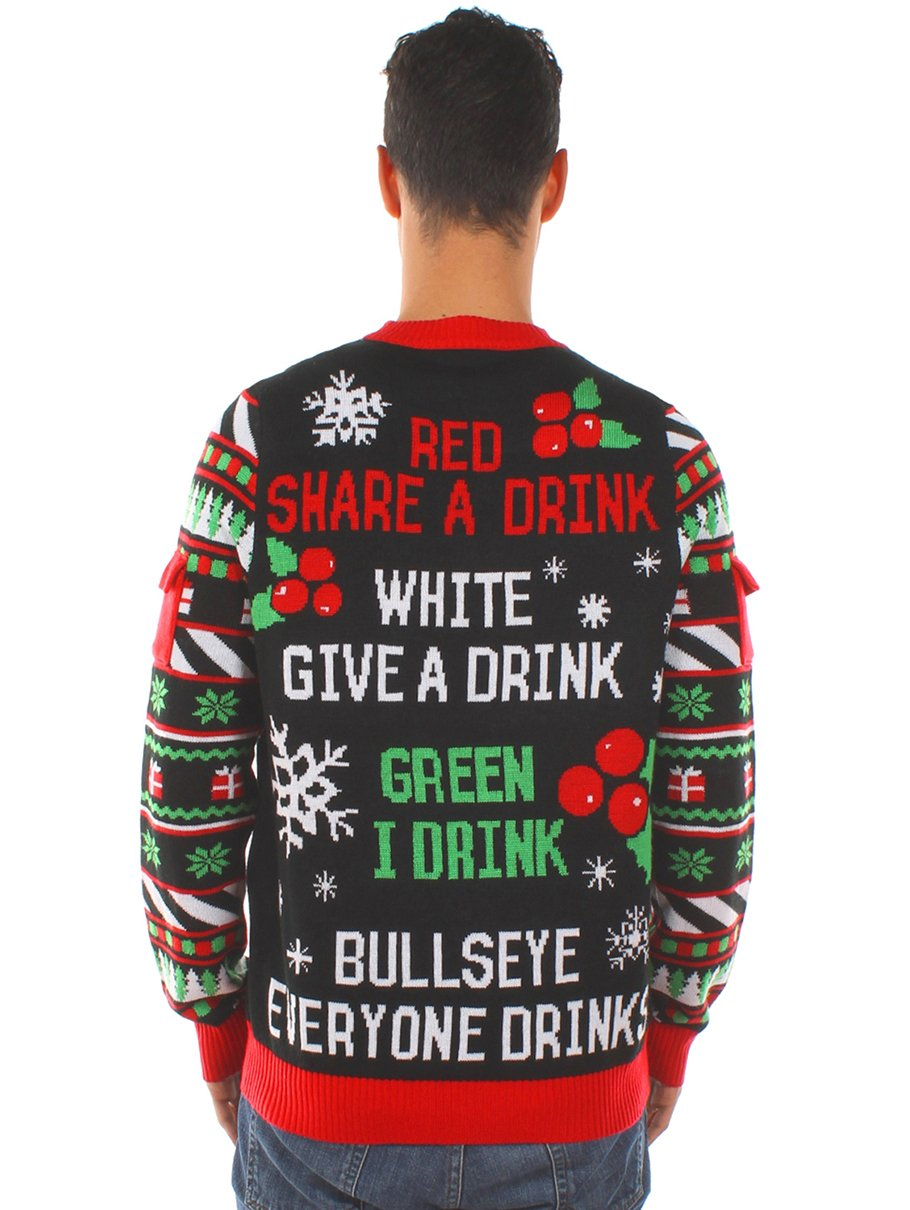 Tipsy Elves Mens Drinking Game Ugly Christmas Sweater Funny