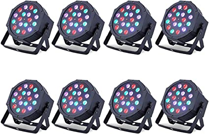 Amazon Com Led Up Lights Nurxiovo Par Lights 18x1w Dmx Stage Lights Led Rgb Lighting With Sound Control 7 Channel For Dj Party Church Wedding Clubs Lighting 8 Packs Musical Instruments