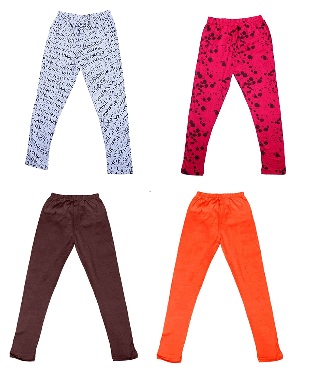 /_Multicolor/_Size-7-8 Years/_71413142021-IW-P4-30 and 2 Cotton Printed Legging Pants Indistar Girls 2 Cotton Solid Legging Pants Pack Of 4