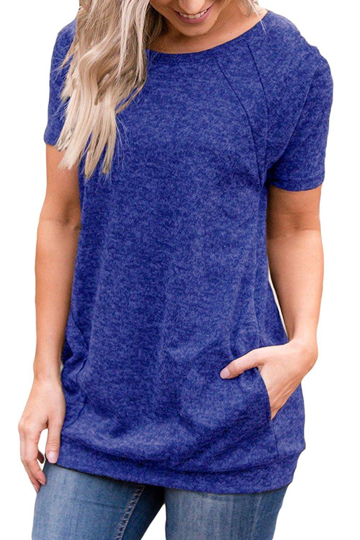 Uniboutique Womens Plus Size Fashion 2018 Loose Short Sleeve Round Neck Pockets Tunics T Shirts Tops Blouses Blue X-Large